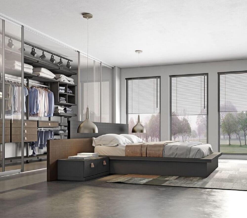 modelo de quarto com closet com porta de vidro Foto Pinterest