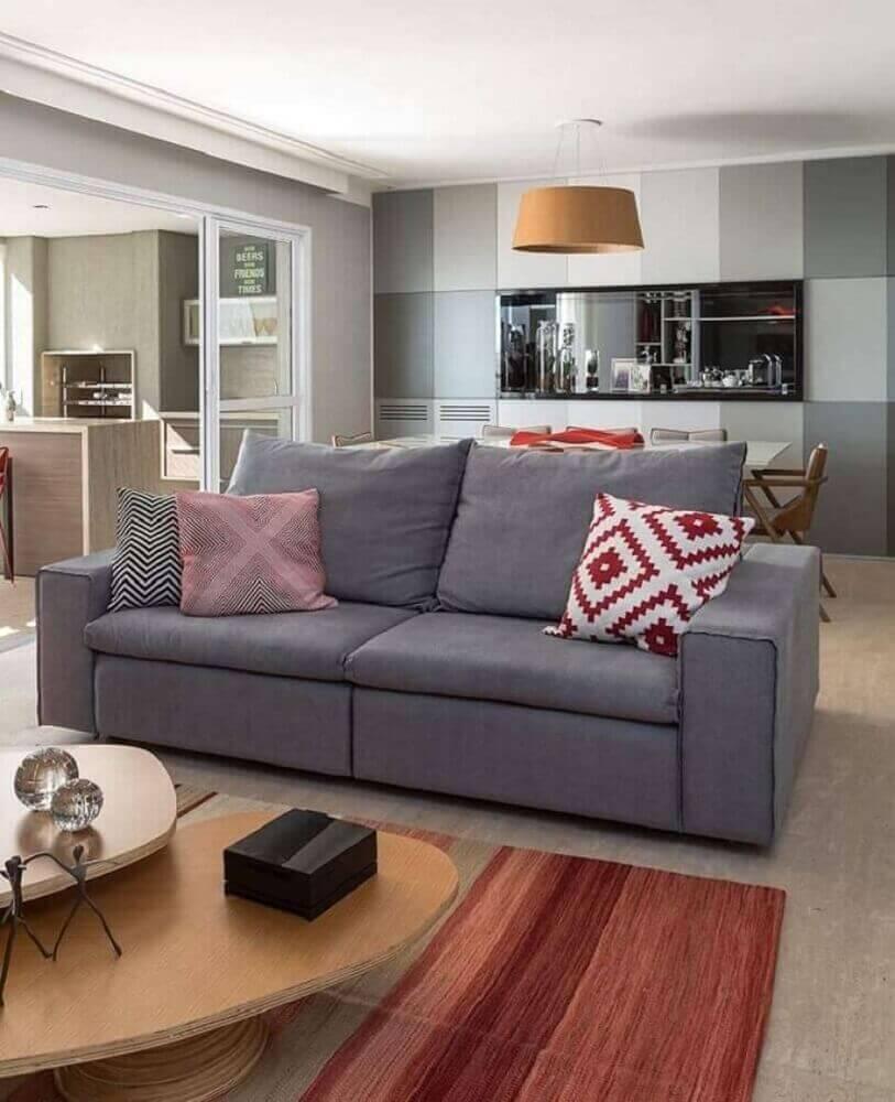 modelo de sofá para sala de tv pequena Foto Eliane Mesquita Arquitetura