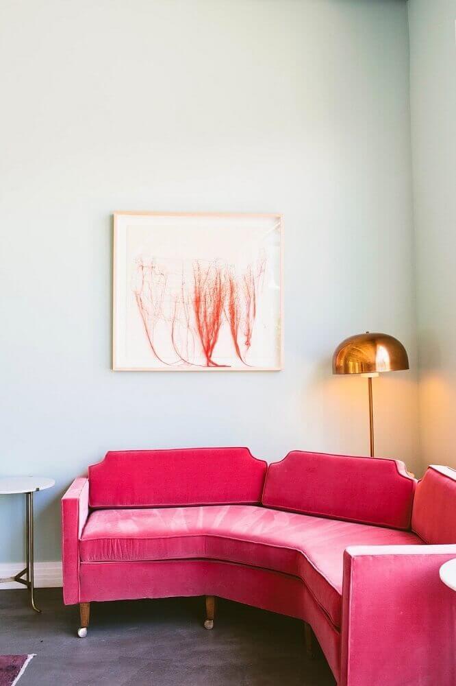 modelo diferente e cor de rosa de sofá de canto para sala pequena Foto Archzine