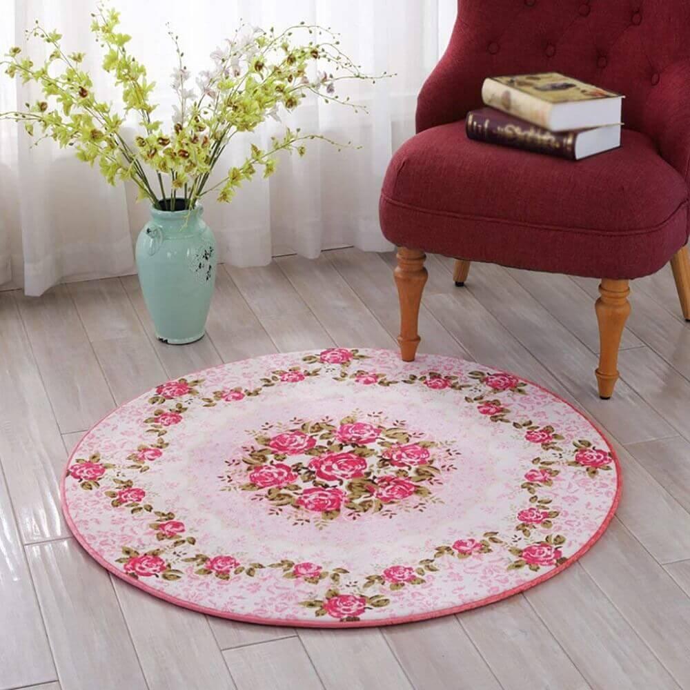 modelo vintage de tapete redondo com flor Foto AliExpress