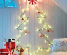 Painel de natal iluminado com bolas vermelhas - Via: The Family Hansyman