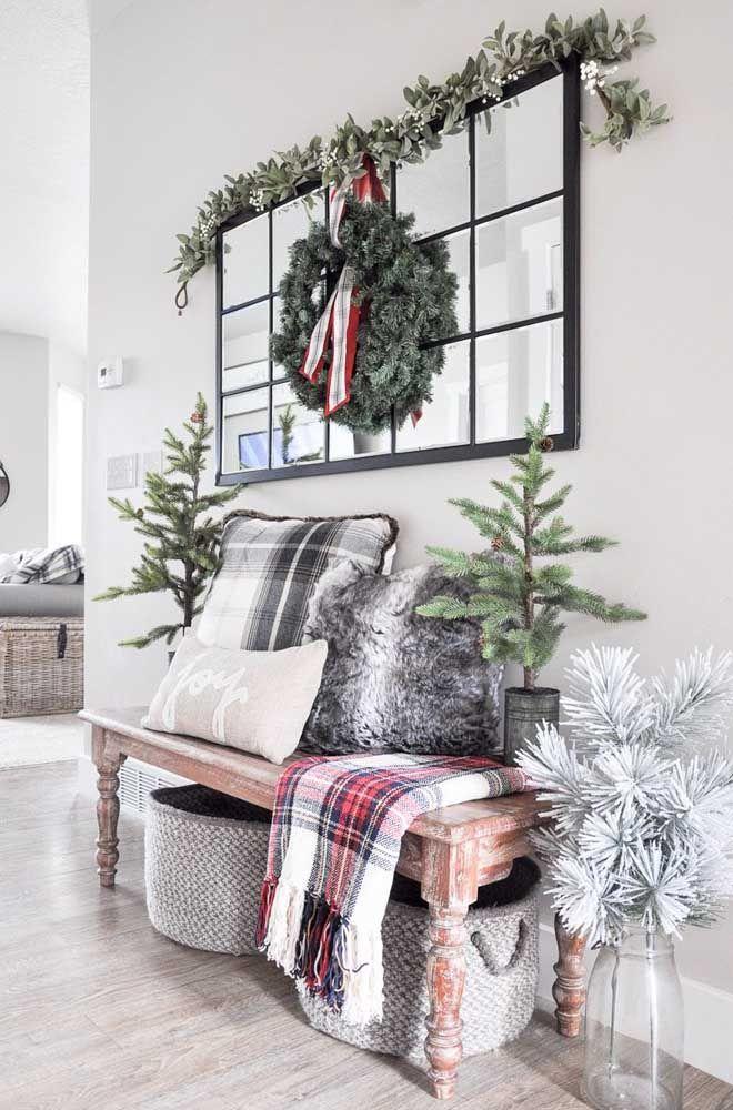 Painel de natal na decoração da sala de estar