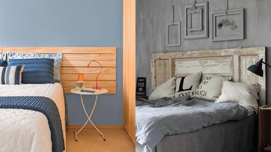 quarto decorado com cabeceira de madeira