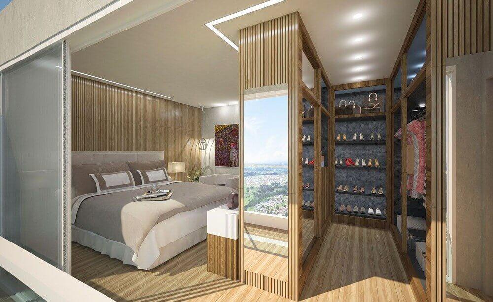 revestimento de madeira para quarto com closet Foto Viga Engenharia
