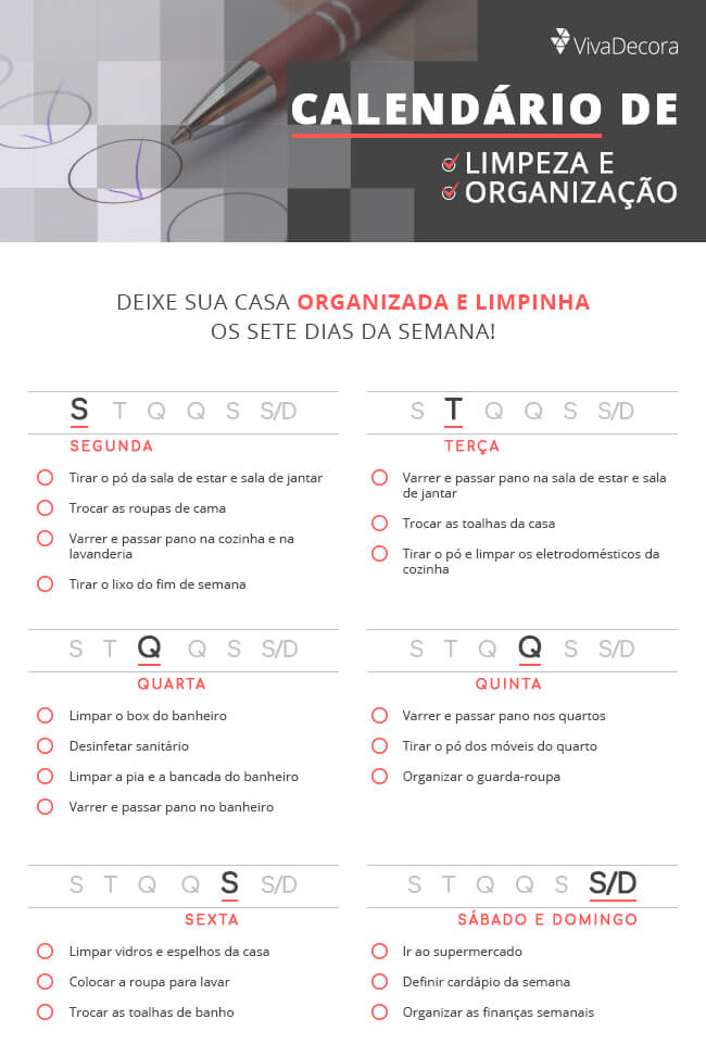 Infográfico - Como Organizar a Casa