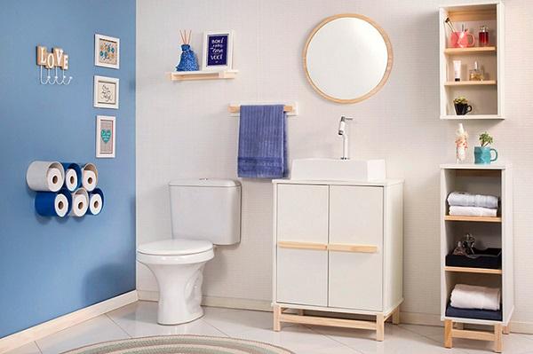 Arrumar casa banheiro azul