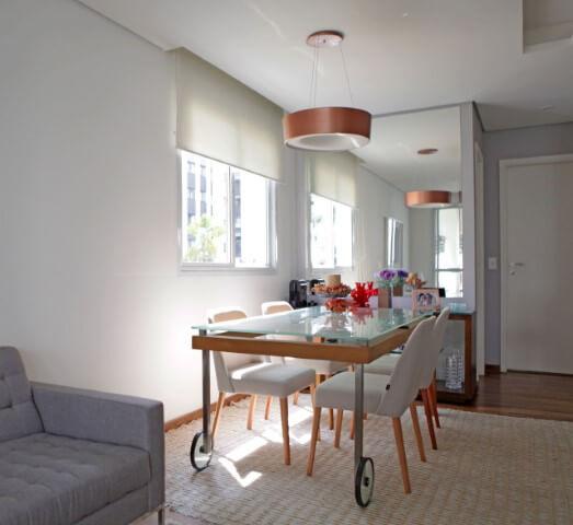 Como organizar a casa deixando a sala de jantar pequena Projeto de Joanna Marino