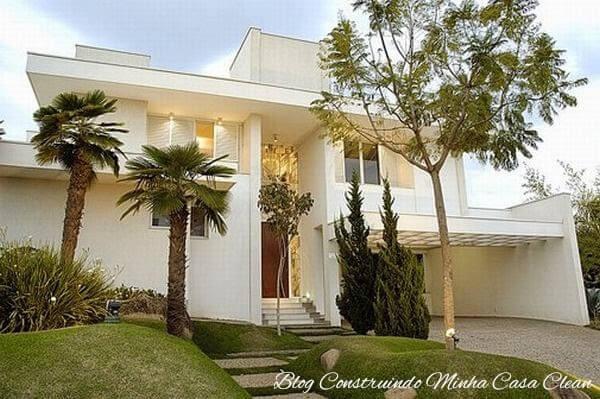 Fachada de casa com cor palha e branco Foto de Blog Construindo Minha Casa Clean