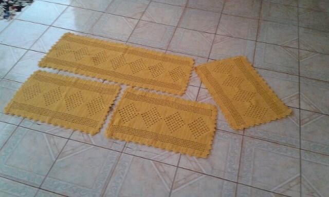 Jogo de cozinha de crochê amarelo Foto de Crochê da Carla
