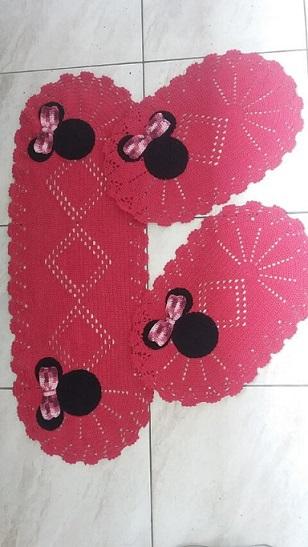 Jogo de cozinha de crochê com Minnie Foto de Tayane Martins Fernandes
