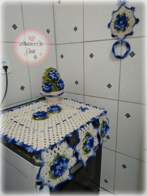 Jogo de cozinha de crochê com argola para pano de prato Foto de Lilinhas e Cia