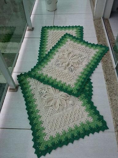 Jogo de cozinha de crochê com borda em tons de verde Foto de MS Crochê