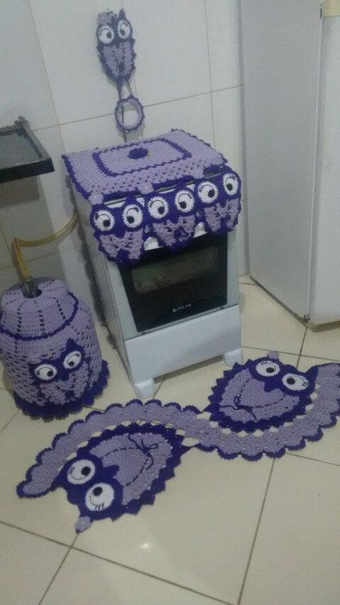 Jogo de cozinha de crochê com corujas Foto de Maria Alice Crochê