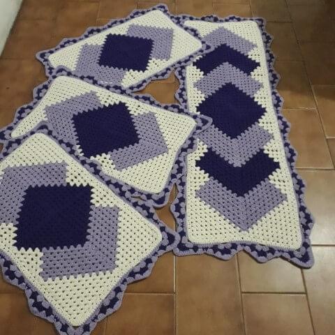 Jogo de cozinha de crochê com estampa de losango roxo Foto de Maravilhas do Crochê