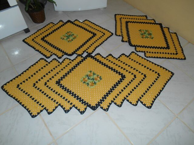 Jogo de cozinha de crochê com formato de losango Foto de Raiza Crochê