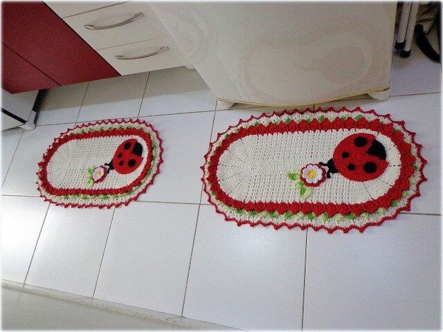 Jogo de cozinha de crochê com joaninhas Foto de Panndorella Crochê