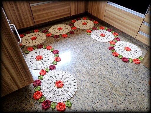 Jogo de cozinha de crochê redondo Foto de Panndorella Crochê