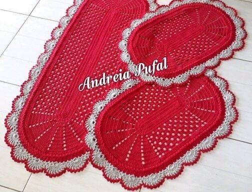 Jogo de cozinha de crochê vermelho com cinza Foto de Andreia Pufal
