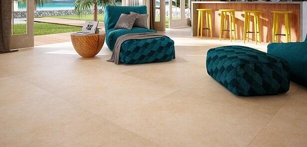 Piso vinílico imitando pedra em sala integrada Foto de Duratex Madeira