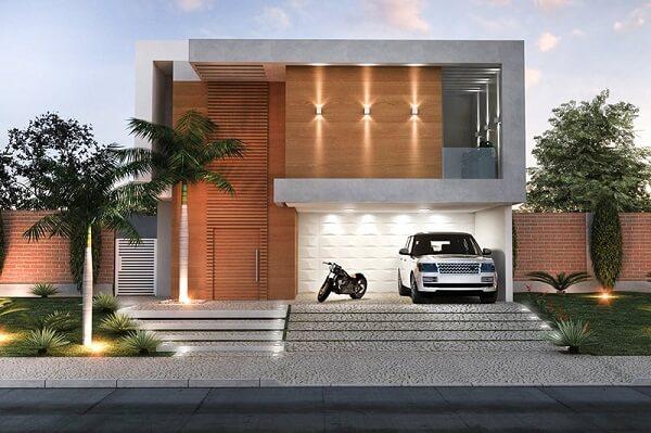 Platibanda em casa com garagem