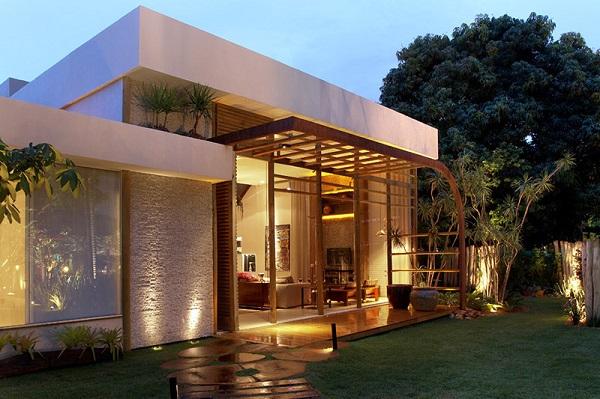 Platibanda em casa moderna