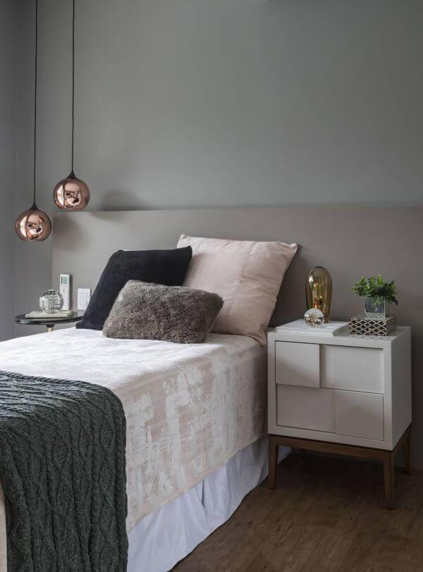 Cores para quarto com pendente rose gold