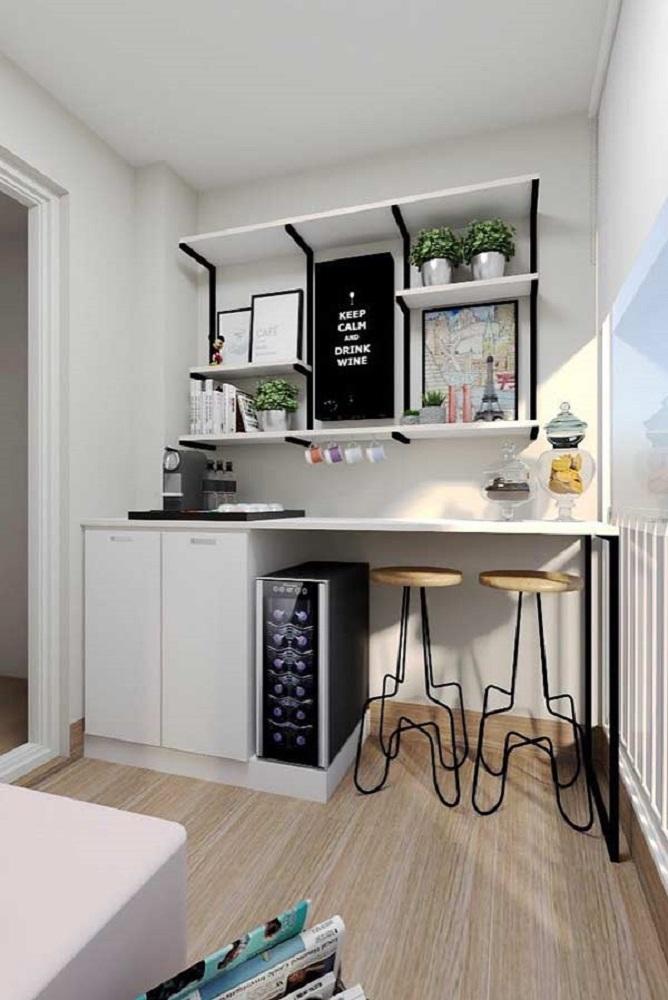 decoração clean com móveis planejados para varanda Foto Construção e Design