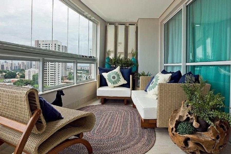 decoração com móveis para varanda com fibras naturais Foto IMS Incorporadora