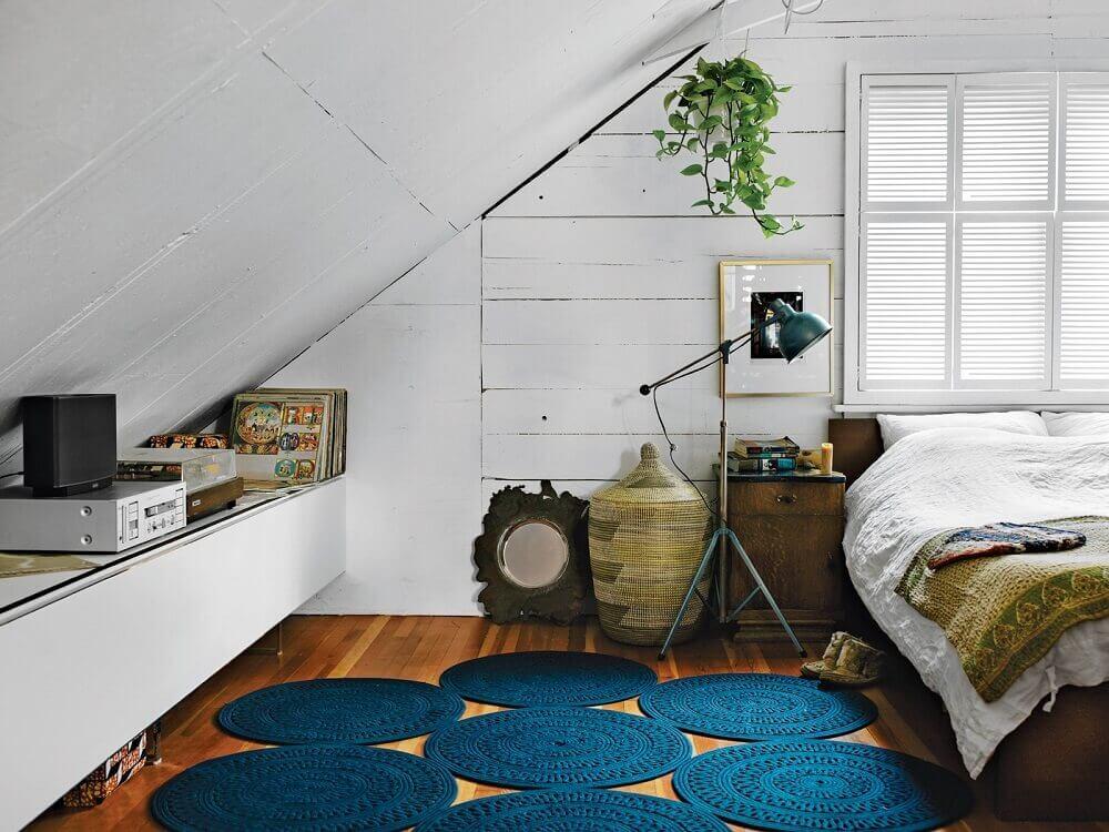 decoração com tapete de crochê para quarto Foto Haus Best
