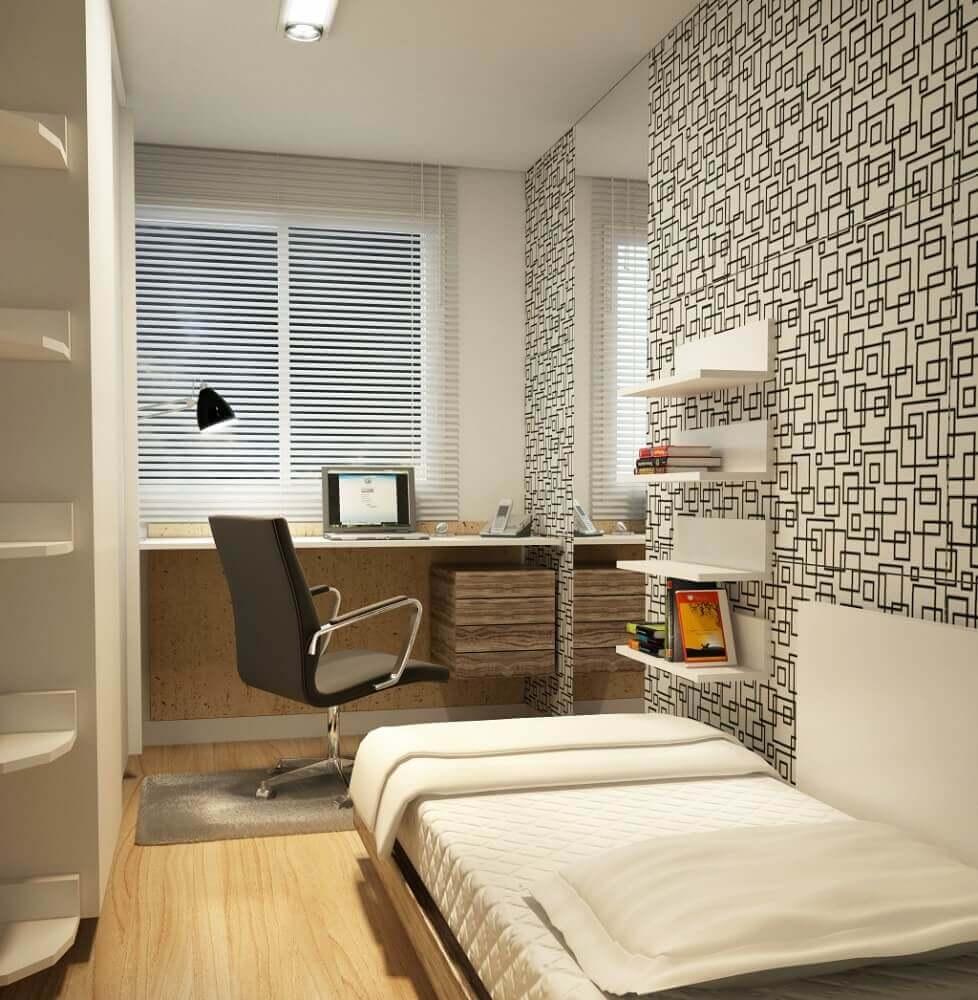 decoração em tons neutros para quarto planejado solteiro pequeno com papel de parede Foto Webcomunica