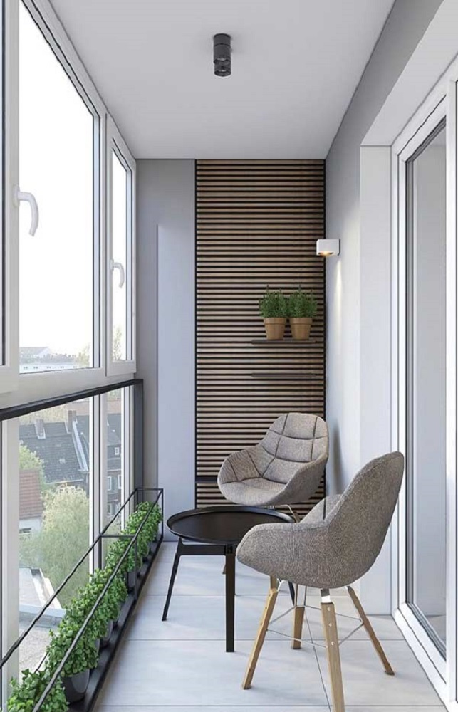 decoração moderna com poltrona e mesa para sacada Foto Pinterest