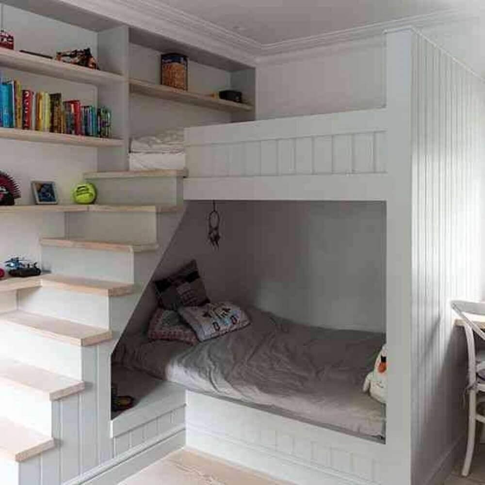 decoração para quarto de solteiro planejado com duas camas estilo bunker Foto Bunk Bed References