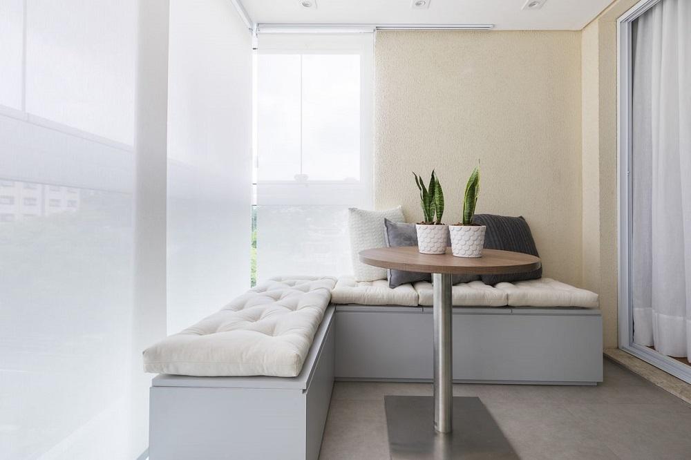 decoração para varanda clean com canto alemão Foto SP Estudio