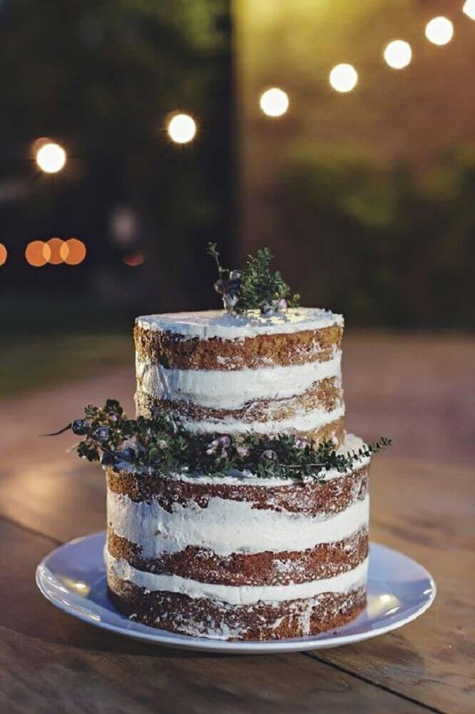 decoração rústica com bolo simples de casamento Foto Elsacoignoux
