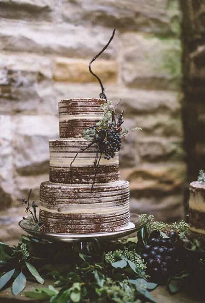 decoração rústica com bolo simples de casamento Foto Wedding Cake Flavors