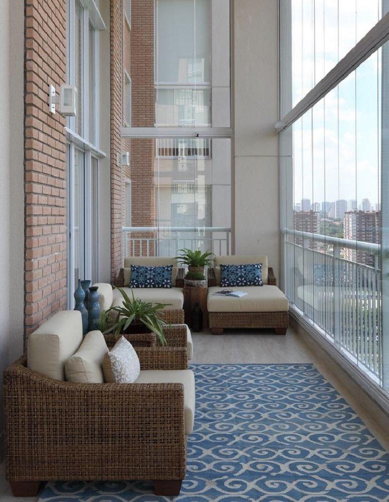 decoração sofisticada com móveis em fibras naturais para varanda Foto Mediabix