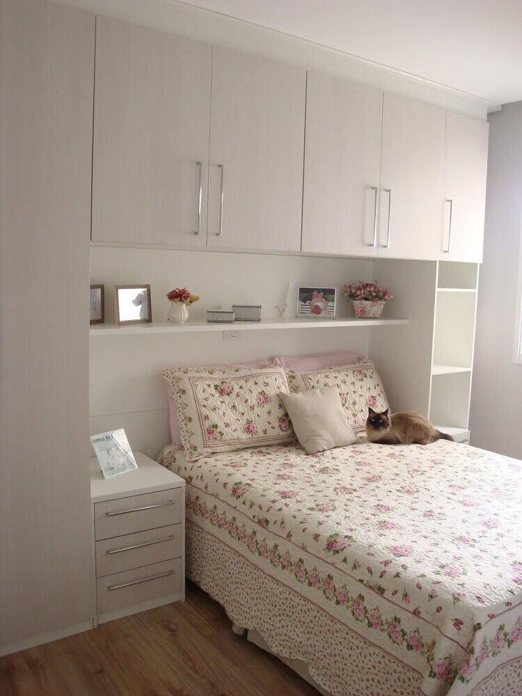 decoração toda branca para quarto planejado solteiro feminino Foto Space Teens
