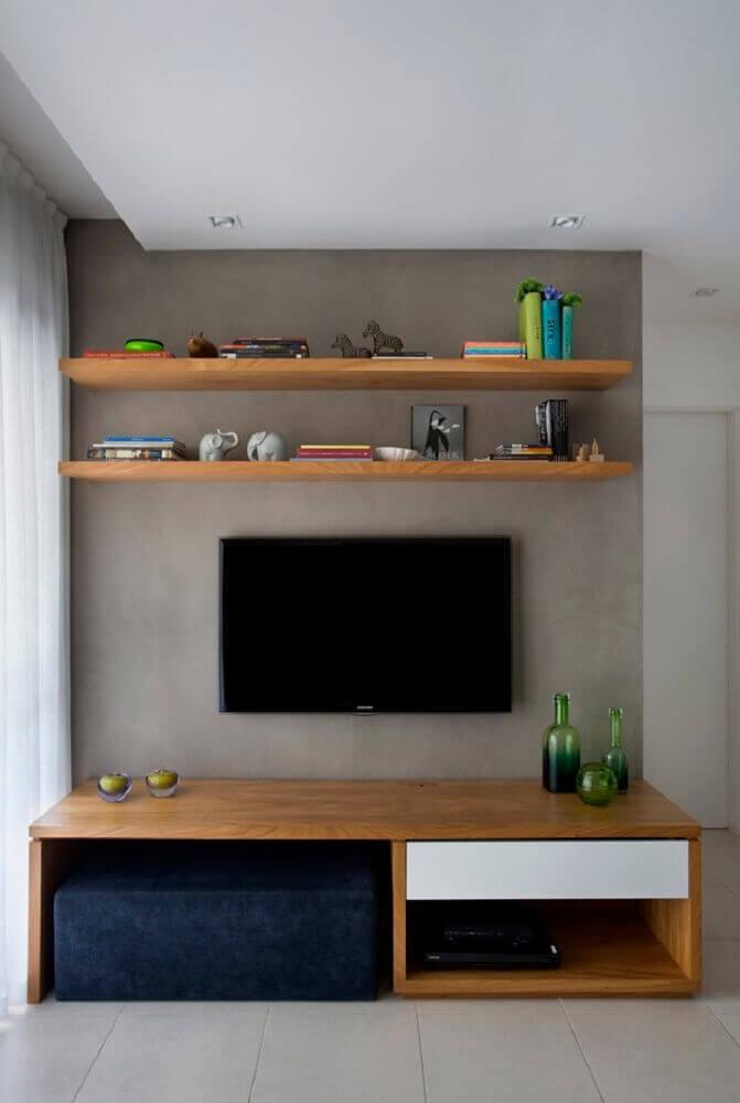 enfeites para rack de madeira com parede de cimento queimado Foto Pinterest