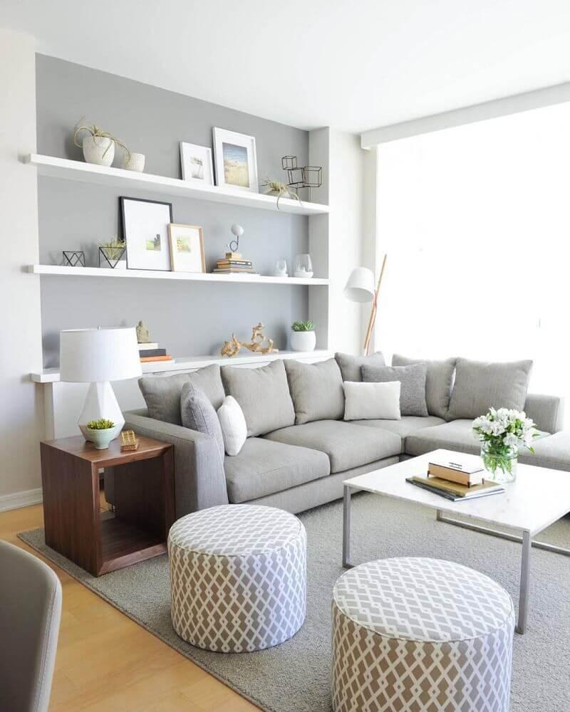 enfeites para sala decorada em tons de cinza Foto Design Innova
