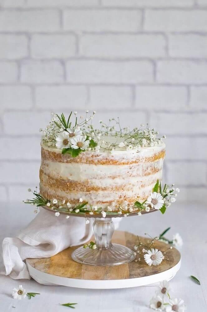 lindo bolo simples de casamento decorado com pequenas flores brancas Foto Cake Ideas