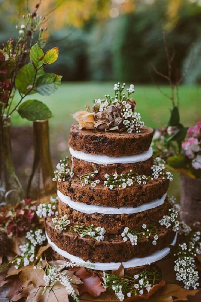 lindo modelo de bolo de casamento simples para festa rústica Foto Pinterest