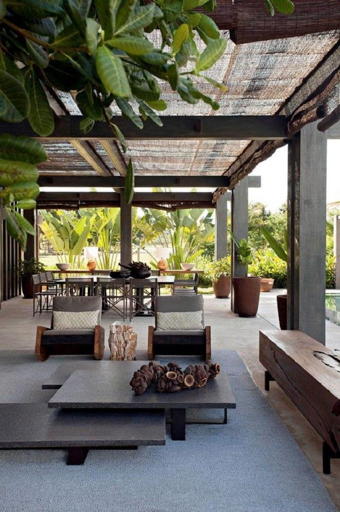 móveis para área externa ampla com decoração moderna Foto Trendecora