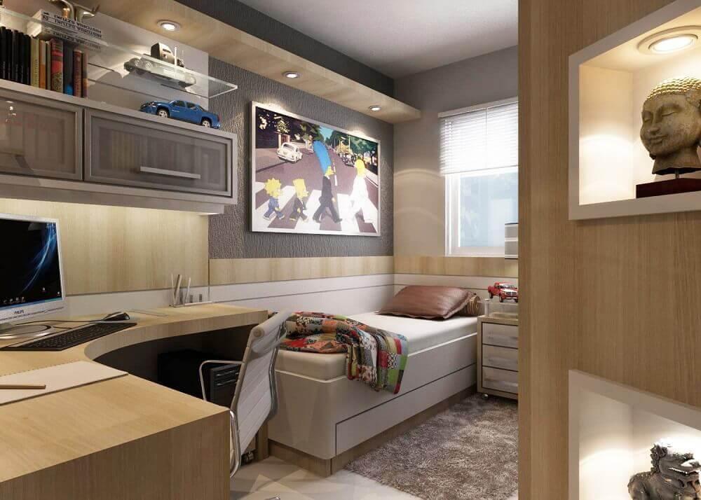 móveis planejados para quarto de solteiro com bancada de estudos Foto Jet Dicas