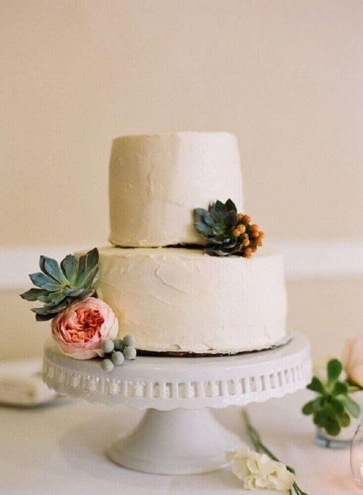 modelo delicado e de 2 andares de bolo para casamento simples Foto Kreativ Welt