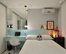 quarto de solteiro planejado com luminária minimalista e revestimento em azul tiffany Foto Dettagli Arquitetura Araraquara