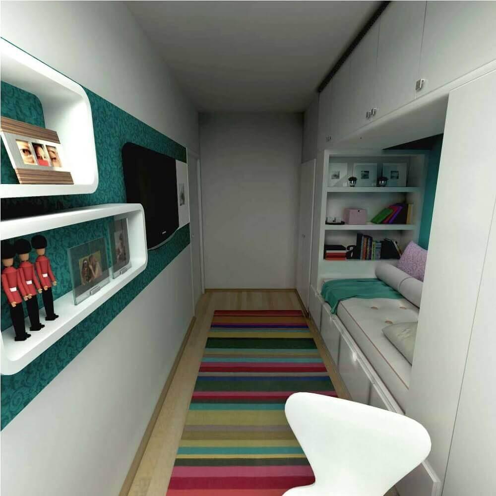 quarto planejado solteiro feminino com papel de parede e tapete listrado Foto limaonagua