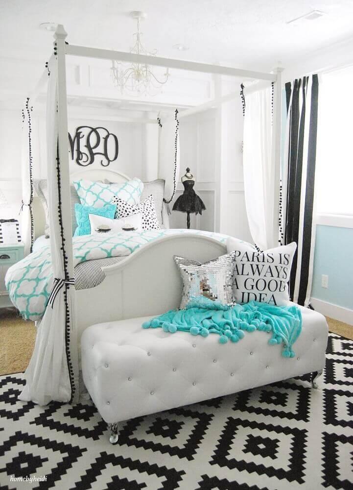 tapete para quarto de casal decorado com dossel Foto Bedroom Inspirations