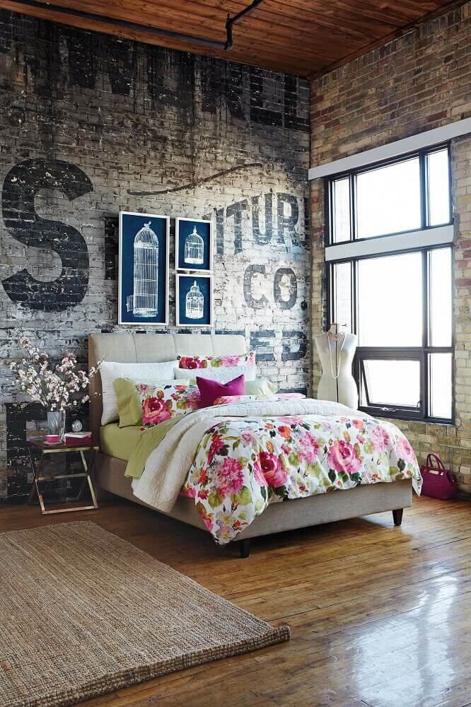 tapete para quarto decorado com estilo industrial Foto Possible Decor