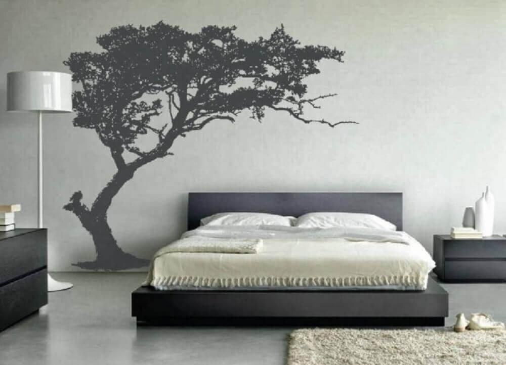tapete para quarto decorado em tons de cinza Foto Yandex
