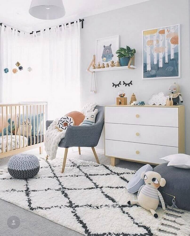 tapete para quarto infantil decorado em tons de cinza Foto Pantito Design